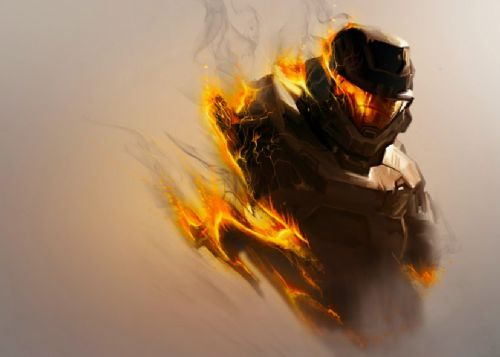 GAMES - HALO SPARTAN CHIEF FLAMES canvas print - self adhesive poster - photo print